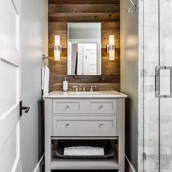 Norwell Design Build Rustic Bathroom With Plank Accent Wall