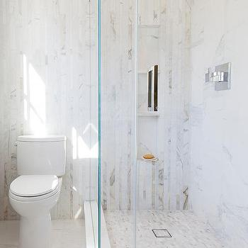 Linear White Marble Tiled Shower With Marble Slab Shower