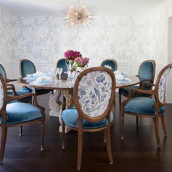 Round French Dining Table With Blue Velvet Oval Back Dining Chairs