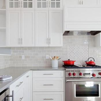 Light Gray Mini Subway Kitchen Backsplash Tiles Design Ideas