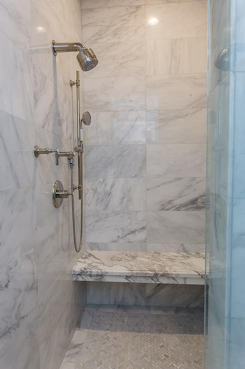 Gray And White Marble Floating Shower Bench