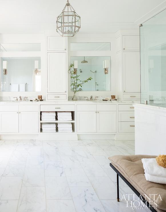 Master Bathroom With Built In Towel Shelves