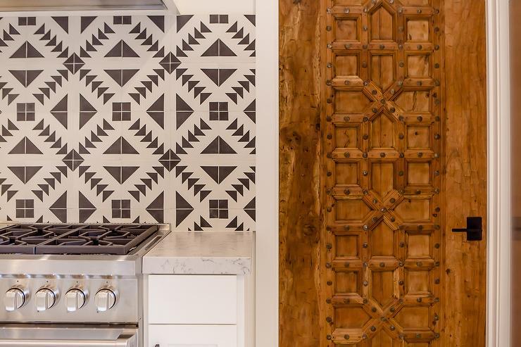 Mediterranean Kitchen Pantry Carved Door View Full Size