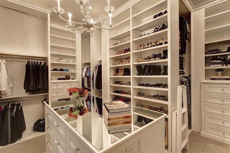 Mirrored Top Closet Island With Glass Chandelier