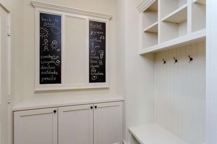 Off White Mudroom With Chalkboard Message Boards