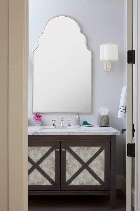 Powder Room With Brown Ceiling And Silver Metallic