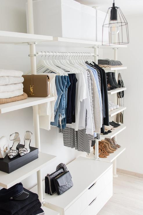 White Modular Closet System With Scarf Shelf