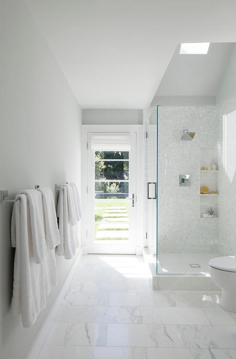 Shower with Skylight and Marble Tiles & Shower with Skylight and Marble Tiles - Transitional - Bathroom