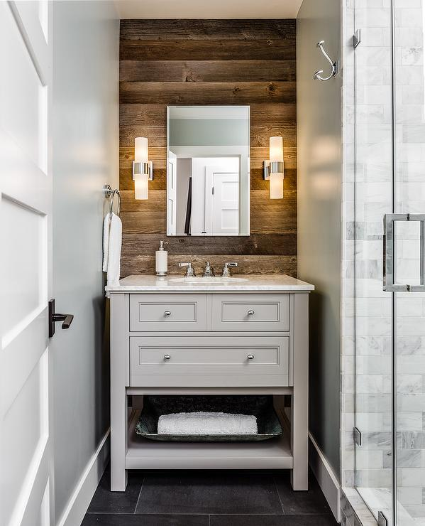 Rustic Bathroom With Plank Accent Wall