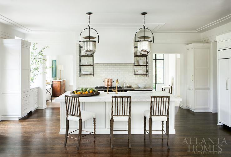 Enjoyable White Marble Top Island With Gray Spindle Counter Stools Uwap Interior Chair Design Uwaporg