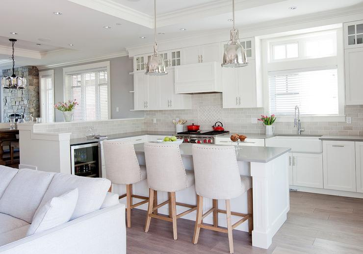White Kitchen Island With Gray Velvet French Counter