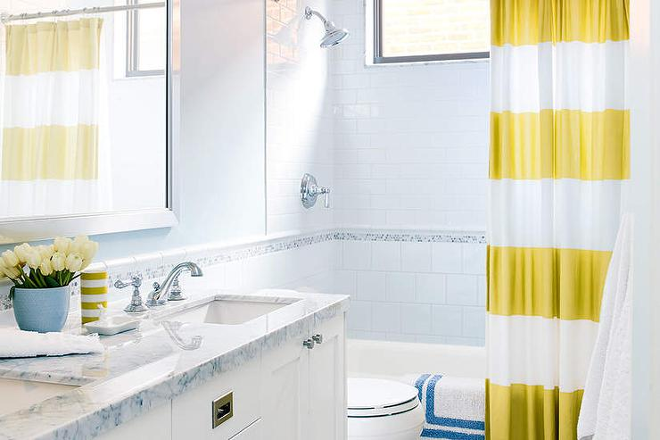 Shared Kids Bathroom With Yellow Striped Shower Curtain
