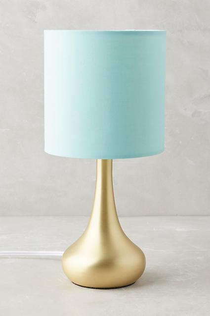 Mint Drum Gold Base Table Lamp
