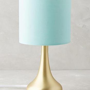 Mint Drum Gold Base Table Lamp