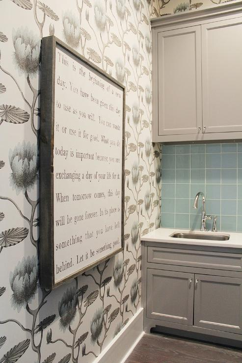 Blue And GRay Laundry Room With Cole And Son Lily Wallpaper