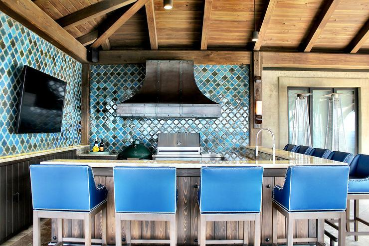Mediterranean Style Outdoor Kitchen With Blue Moroccan Tile Backsplash