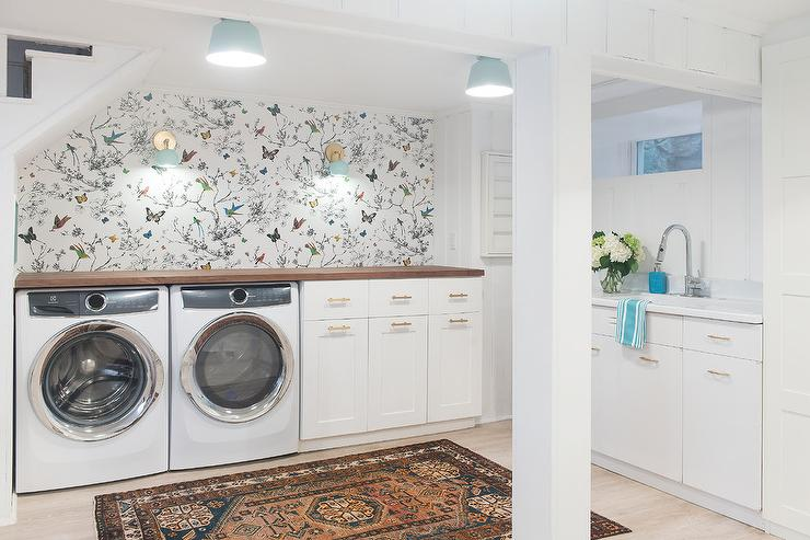 Basement Laundry Room With Birds And Butterflies Multi On