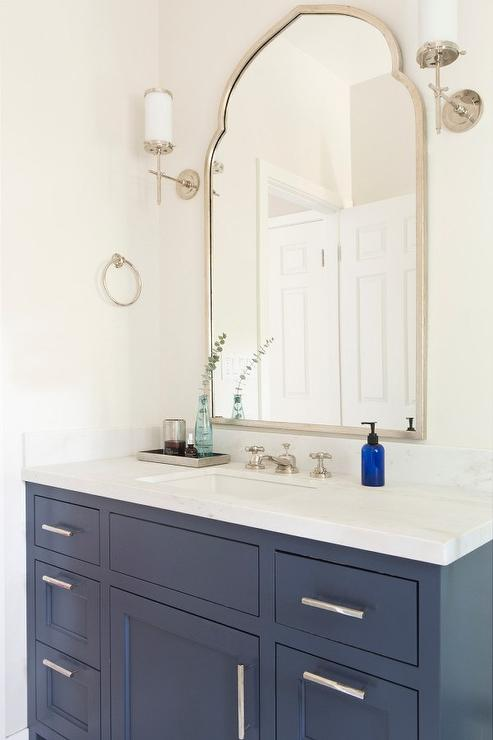Blue Bath Vanity With Uttermost Kenitra Arch Wall Mirror