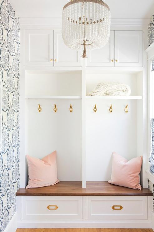 White And Gray Mudroom With Gray Medallion Wallpaper And