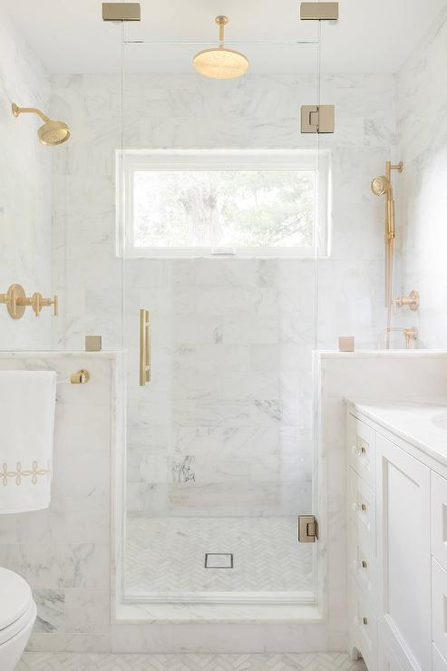 White Marble Tile Shower : Seamless glass shower with brass hinges and door