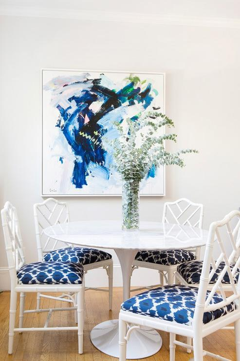 White and Blue Dining Room with White Faux Bamboo Chairs