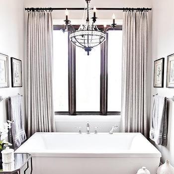 beaded paris flea market chandelier over rectangular bathtub