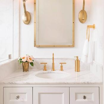 White Washstand With Brass Up Light Wall Sconces Transitional Bathroom