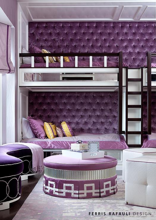 Built In Bunk Beds With Purple Velvet Tufted Walls Contemporary Girl S Room