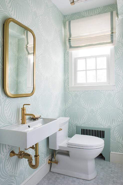 manuel canovas trellis wallpaper contemporary bathroom
