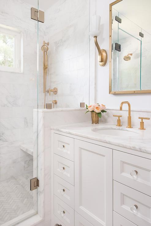 White Washstand with Brass Up Light Wall Sconces - Transitional ...