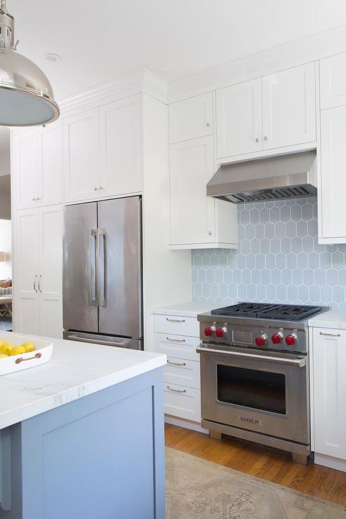White Kitchen Cabinets With Blue Backsplash Tiles