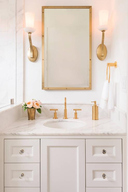 White Washstand With Brass Up Light Wall Sconces