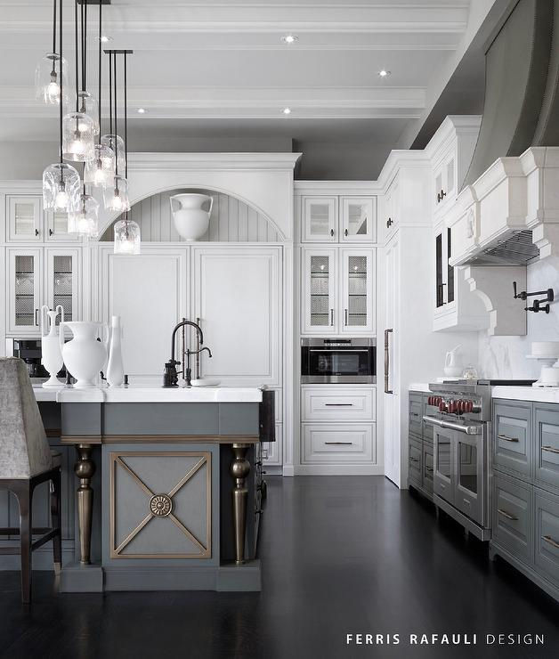 White Upper Cabinets And Gray Lower Cabinets With Gray Kitchen - Gray lower cabinets
