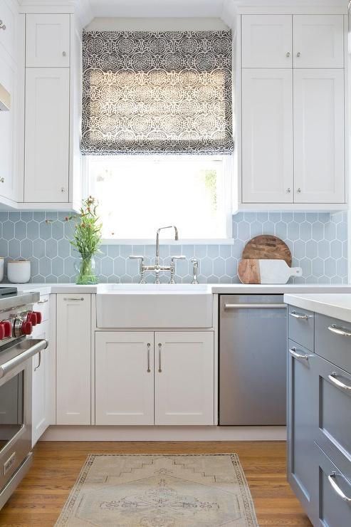 White And Blue Kitchen With Blue Walker Zanger 6th Avenue Cocoon Tiles Transitional Kitchen