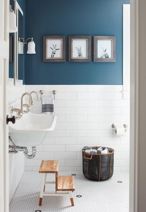 Boy Bathroom with Peacock Blue Wall Paint Color