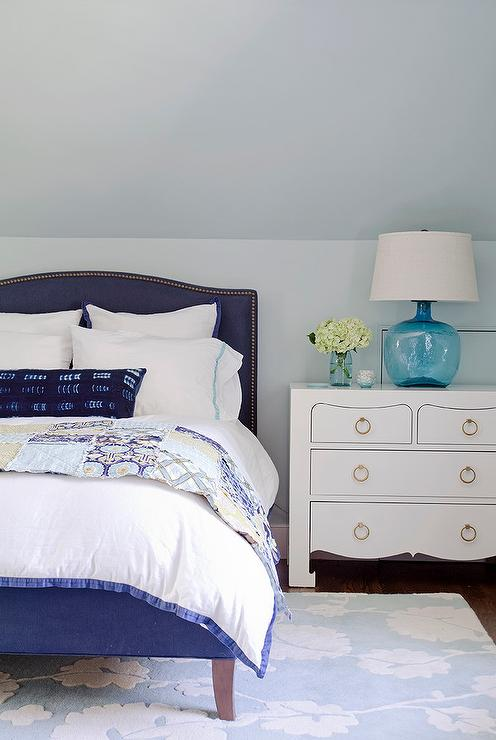 Blue Camelback Bed with White Lacquered Nightstand ...