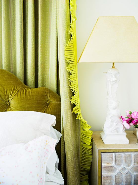 Green Bedroom With Tray Ceiling Transitional Bedroom
