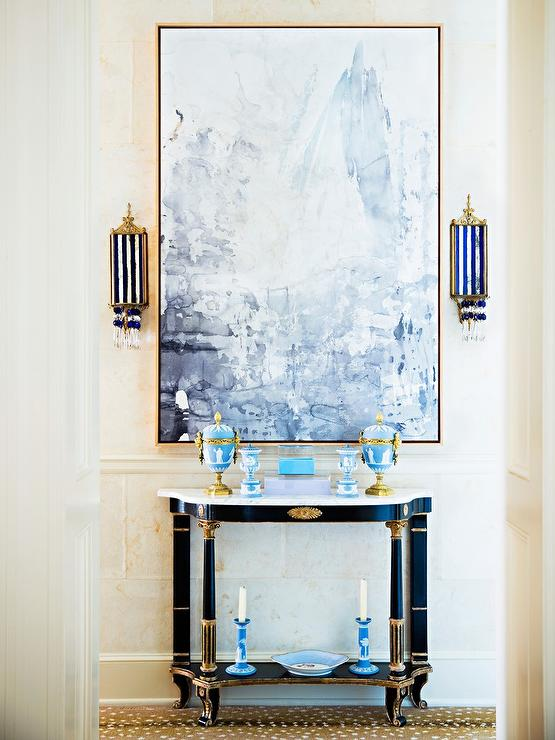 Geometric Console Table and Jonathan Adler Pill Capsule Wall Sconces - Contemporary - Entrance/foyer