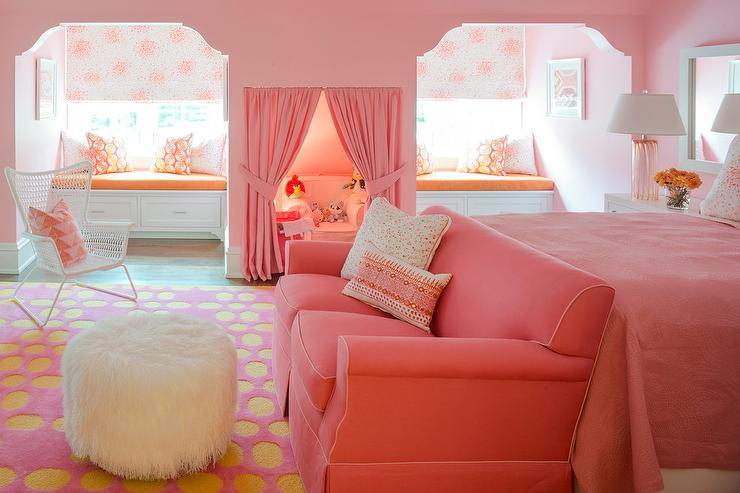 Pink Girl Bedroom with Play Nook with Pink Curtains - Contemporary ...