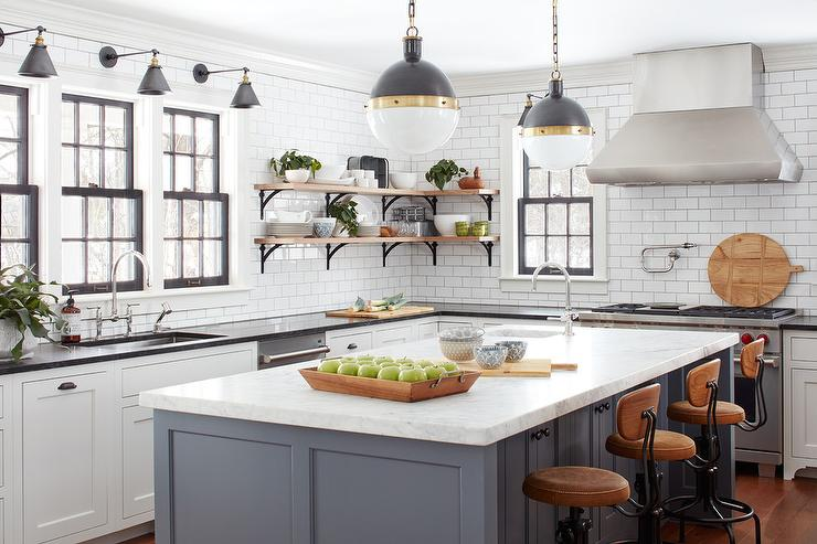 Gray Barstools Transitional Kitchen Benjamin Moore