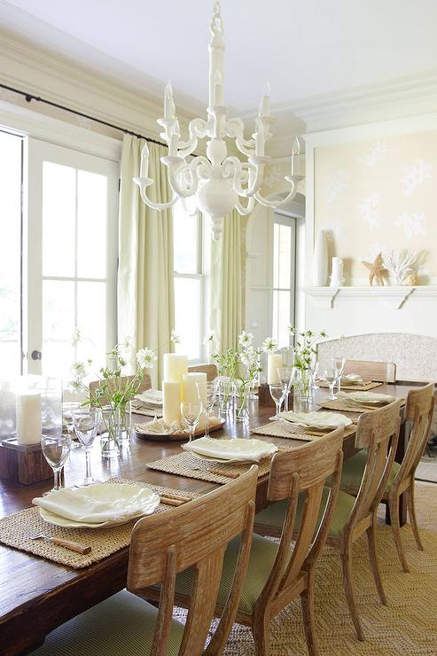 Beige and green dining room with fireplace cottage for Beige dining room ideas