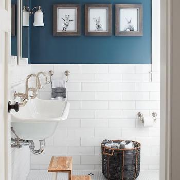 Boy Bathroom with Peacock Blue Wall Paint Color & Half Tiled Kid Bathroom Walls Design Ideas