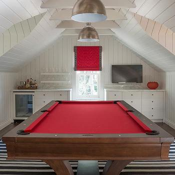 White And Red Game Room With Built In Bar