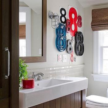 White kid bathroom with navy blue glossy ceiling for Navy bathroom bin