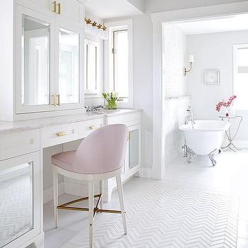 White And Gray Bathroom With Gray Half Tiled Walls