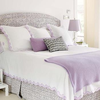 Lavender And Gray Bedroom With White Lattice Step Nightstands