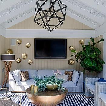 Pool Cabana Steel Polyhedron Pendant Design Ideas