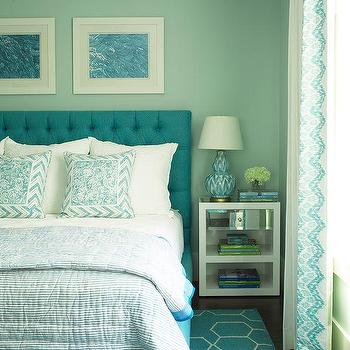 Turquoise Blue Bedroom with Blue Brush Strokes Lamp. Blue And Aqua Bedroom Curtains Design Ideas