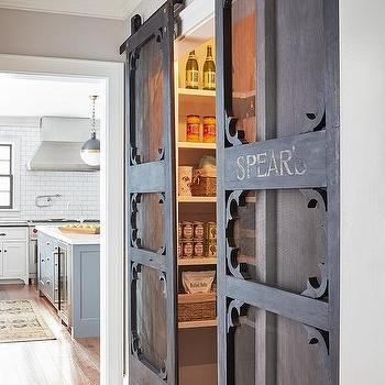 Kitchen Pantry with Vintage Mesh Screen Sliding Doors on Rails & Sliding Pantry Doors Design Ideas