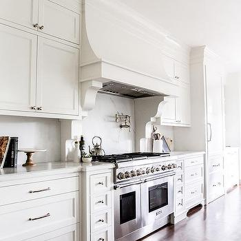 White French Kitchen Hood With Gray Brick Tiles